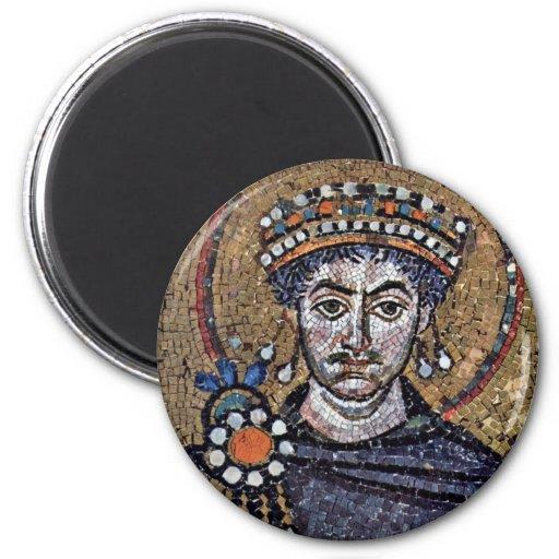 Justinian I, San Vitale (Ravenna) Choir Mosaics A 2 Inch Round Magnet