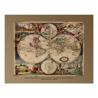 Justus Danckerts Old World Map Poster Print