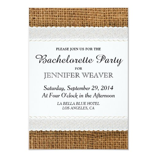 Jute and Lace Bachelorette Party Invitations
