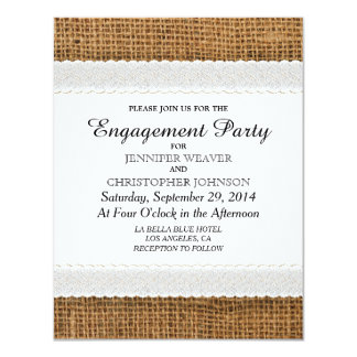 Jute and Lace Engagement Party Invitations