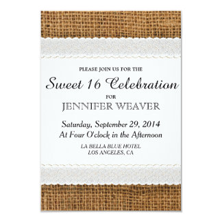 Jute and Lace Sweet 16 Party Invitations