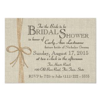 Jute Bow and Burlap Bridal Shower Card