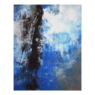 'Juvenile' Blue and Grey Abstract Art Poster