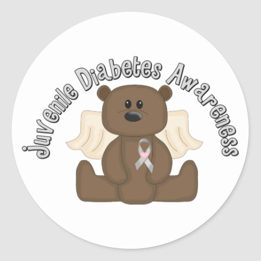 Juvenile diabetes awareness bear classic round sticker for Stickers juveniles