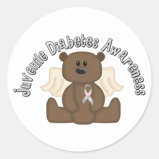 Juvenile diabetes awareness bear classic round sticker for Stickers juveniles