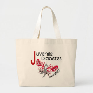 Juvenile Diabetes BUTTERFLY 3 Large Tote Bag