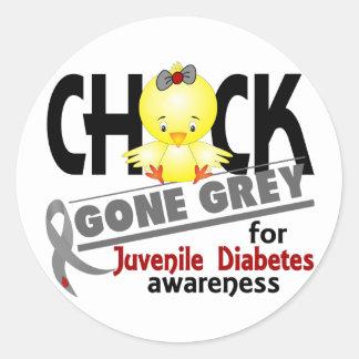 Juvenile Diabetes Chick Gone Grey 2 Classic Round Sticker