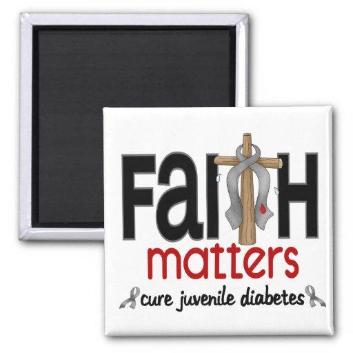 Juvenile Diabetes Faith Matters Cross 1 2 Inch Square Magnet