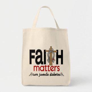 Juvenile Diabetes Faith Matters Cross 1 Grocery Tote Bag