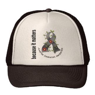 Juvenile Diabetes Flower Ribbon 3 Trucker Hats