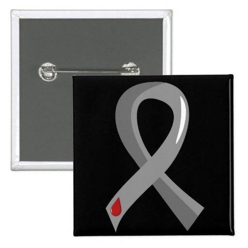 Juvenile Diabetes Grey Ribbon 3 Pinback Buttons