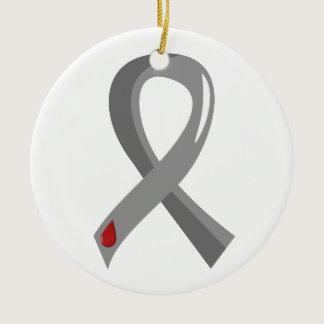 Juvenile Diabetes Grey Ribbon 3 Ceramic Ornament