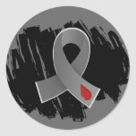 Juvenile Diabetes Grey Ribbon With Scribble Classic Round Sticker