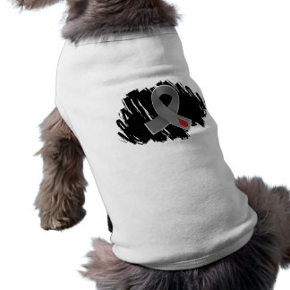 Juvenile Diabetes Grey Ribbon With Scribble Pet Tee Shirt