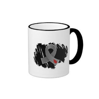 Juvenile Diabetes Grey Ribbon With Scribble Ringer Coffee Mug