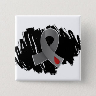 Juvenile Diabetes Grey Ribbon With Scribble Pinback Button