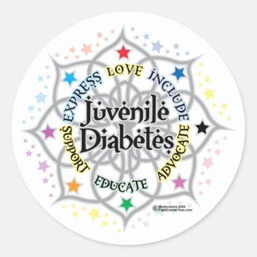 Juvenile diabetes lotus classic round sticker zazzle for Stickers juveniles