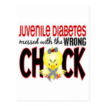 Juvenile Diabetes Messed With The Wrong Chick Postcard