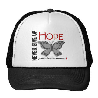 Juvenile Diabetes Never Give Up Hope Butterfly 4.1 Trucker Hats