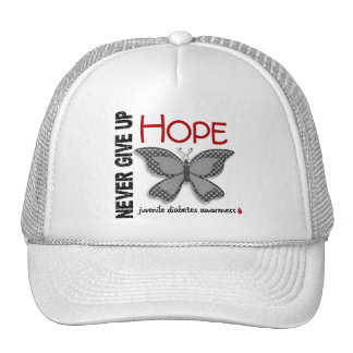 Juvenile Diabetes Never Give Up Hope Butterfly 4.1 Mesh Hats