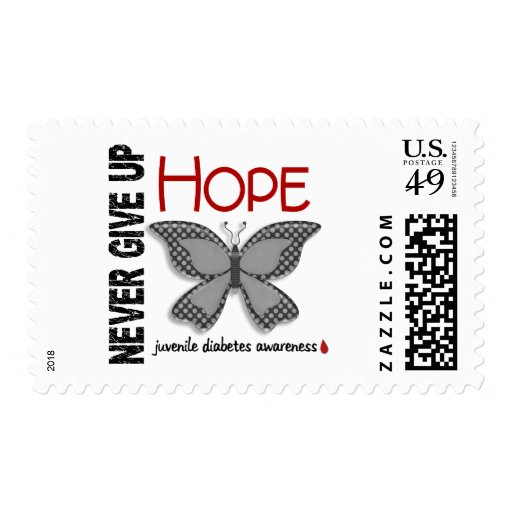 Juvenile Diabetes Never Give Up Hope Butterfly 4.1 Postage