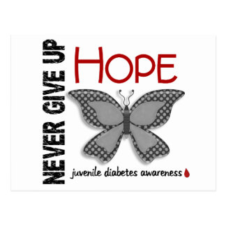 Juvenile Diabetes Never Give Up Hope Butterfly 4.1 Postcard