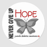 Juvenile Diabetes Never Give Up Hope Butterfly 4.1 Round Stickers