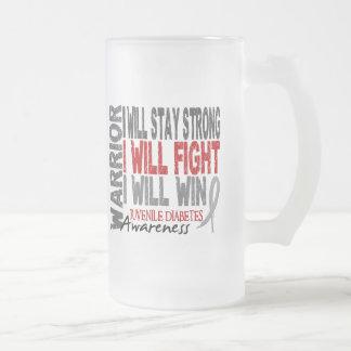 Juvenile Diabetes Warrior 16 Oz Frosted Glass Beer Mug