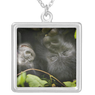 Juvenile Mountain Gorilla and his mother Silver Plated Necklace