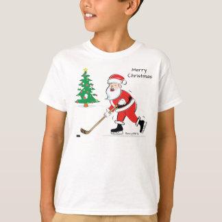 Juventud del navidad de Santa del hockey Playera