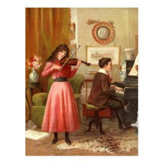 Juventud del vintage que juega la postal musical d