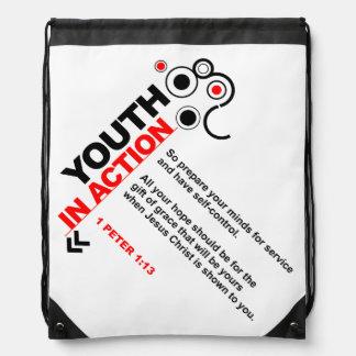 Juventud en mochila del lazo de la acción