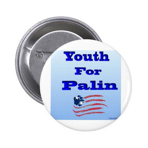 Juventud para el logotipo de Palin con la bandera  Pins