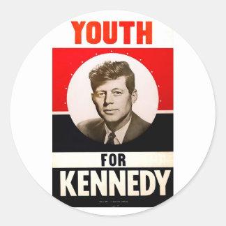 Juventud para presidente John F. Kennedy Pegatinas Redondas