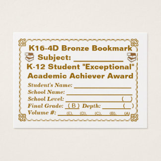 K16-4D Bronze Bookmark -- All Subjects -- 100ct Business Card