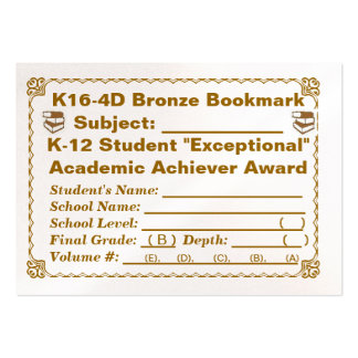 K16-4D Bronze Bookmark -- All Subjects -- 100ct Large Business Cards (Pack Of 100)