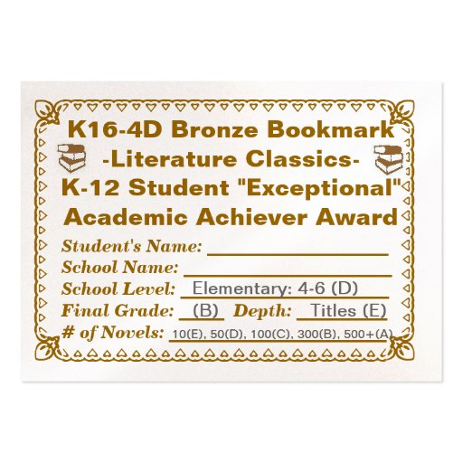 K16-4D Bronze Bookmark -Literature Classics- 100ct Large Business Cards (Pack Of 100)