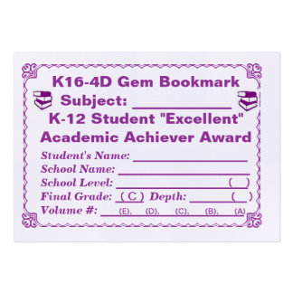 K16-4D Gem Bookmark -All Subjects- 100ct Large Business Cards (Pack Of 100)