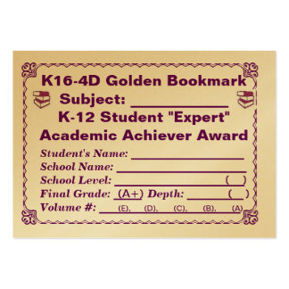 K16-4D Golden Bookmark ~All Subjects~ 100ct Large Business Cards (Pack Of 100)