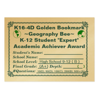 K16-4D Golden Bookmark ~Geography Bee~ HS 100ct Large Business Cards (Pack Of 100)