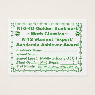 K16-4D Golden Bookmark ~Math Classics~ Jr Hi 100ct Business Card
