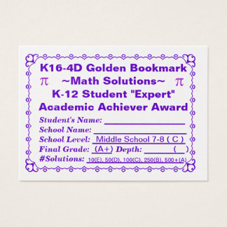 K16-4D Golden Bookmark ~Math Solutions~Jr Hi 100ct Business Card