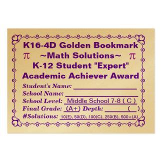 K16-4D Golden Bookmark ~Math Solutions~Jr Hi 100ct Large Business Cards (Pack Of 100)