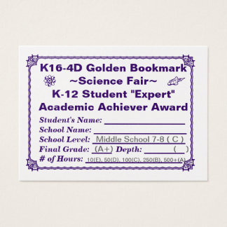 K16-4D Golden Bookmark ~Science Fair~ Jr. Hi 100ct Business Card