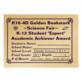 K16-4D Golden Bookmark ~Science Fair~ Jr. Hi 100ct Large Business Cards (Pack Of 100)