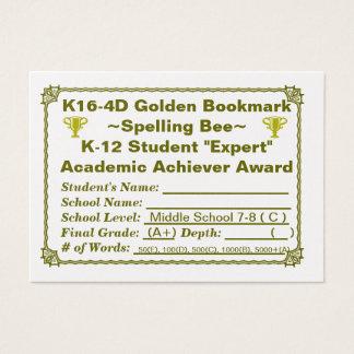 K16-4D Golden Bookmark ~Spelling Bee~ Jr Hi 100ct Business Card