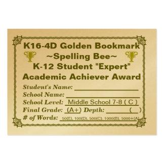 K16-4D Golden Bookmark ~Spelling Bee~ Jr Hi 100ct Large Business Cards (Pack Of 100)