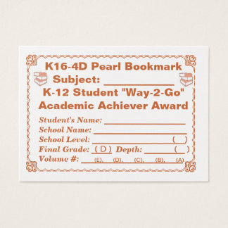 K16-4D Pearl Bookmark -All Subjects- 100ct Business Card