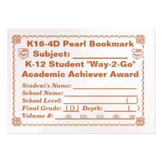 K16-4D Pearl Bookmark -All Subjects- 100ct Large Business Cards (Pack Of 100)