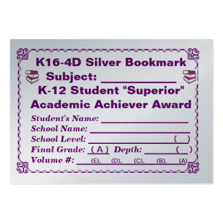 K16-4D Silver Bookmark ~All Subjects~ 100ct Large Business Cards (Pack Of 100)